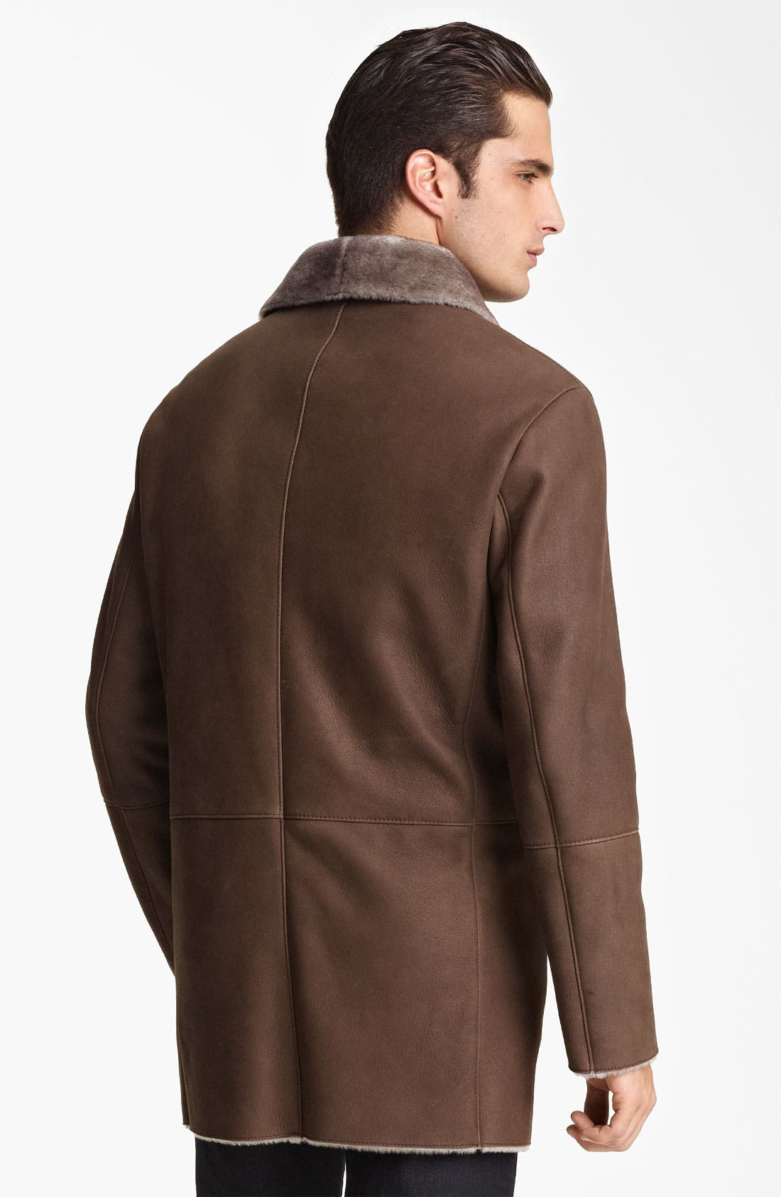 Alternate Image 2  - Armani Collezioni Calfskin Car Coat