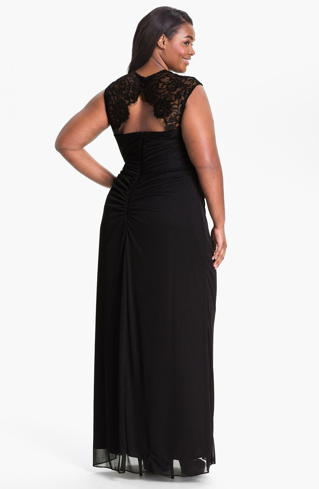 Alternate Image 2  - Xscape Lace Shoulder Gown (Plus Size) (Online Only)