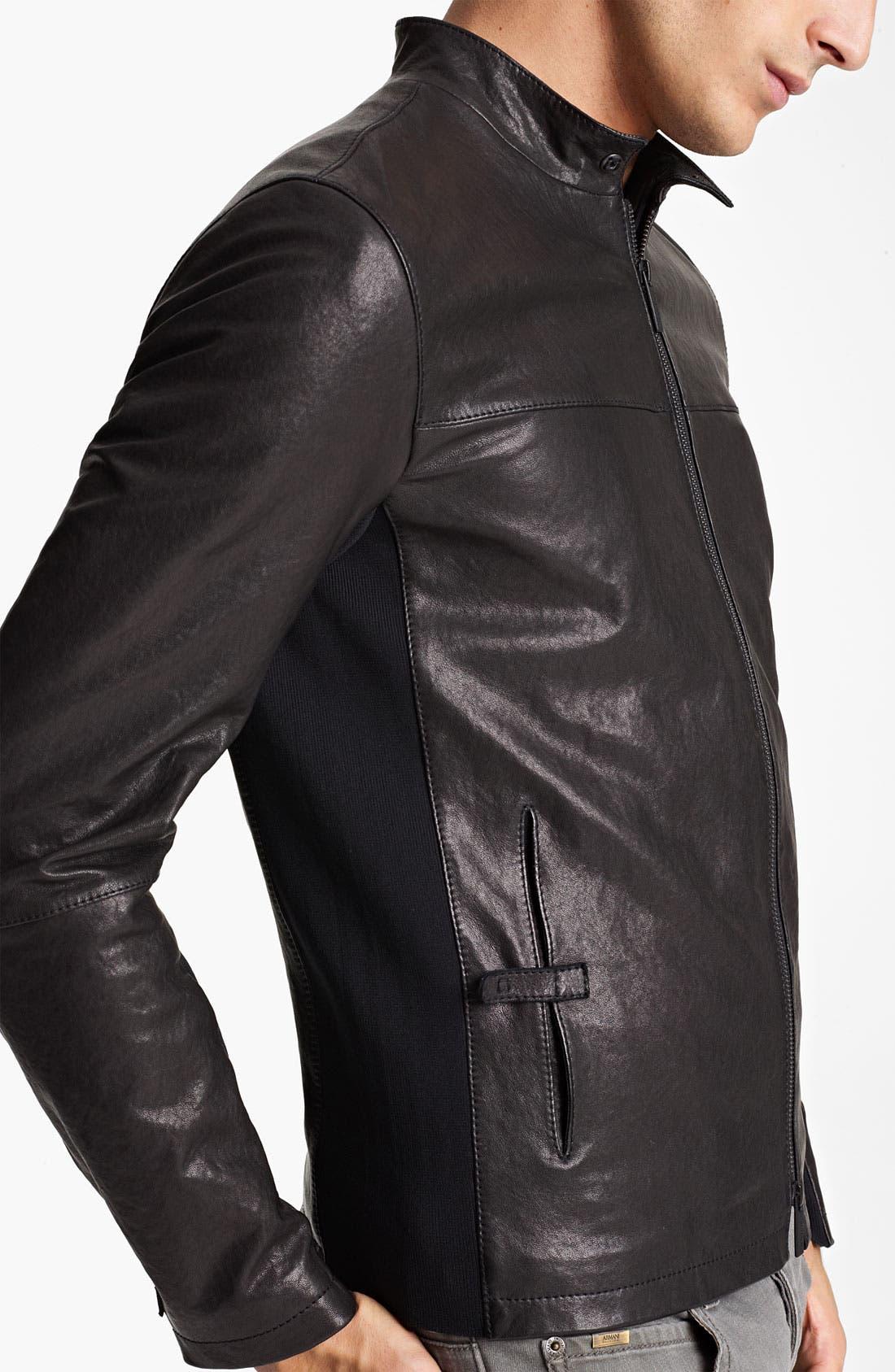 Alternate Image 3  - Armani Collezioni Leather Moto Jacket