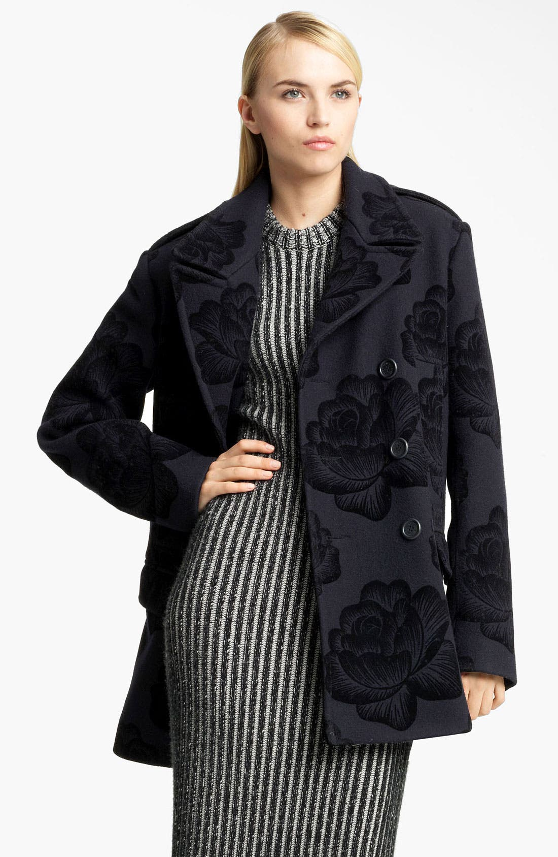 Main Image - Christopher Kane Rose Flock Wool Blend Peacoat