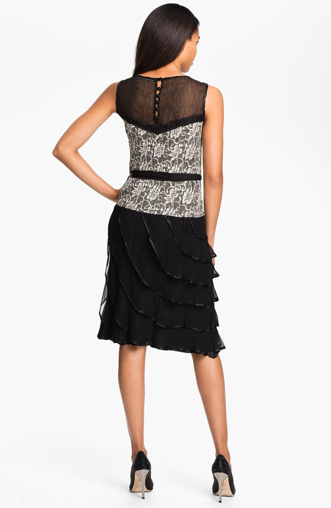 Alternate Image 2  - Black by Komarov Lace & Chiffon Dress