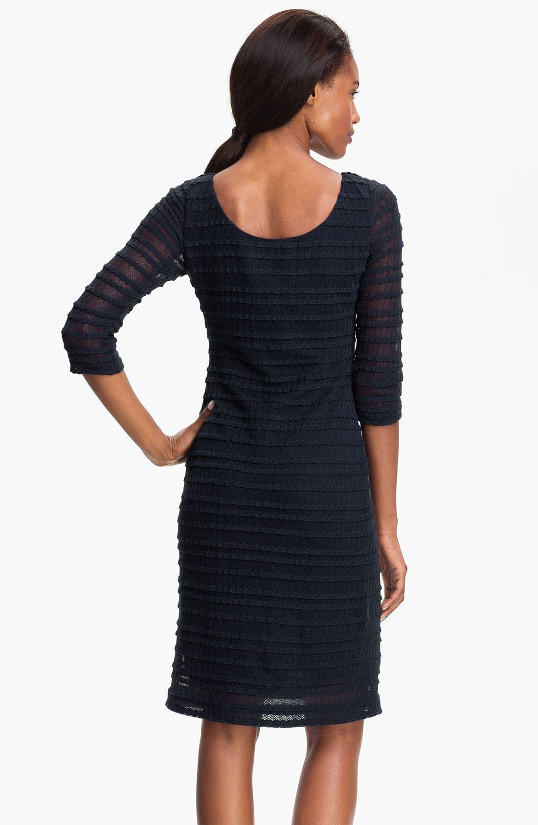 Alternate Image 2  - Kay Unger Illusion Sleeve Textured Sheath Dress