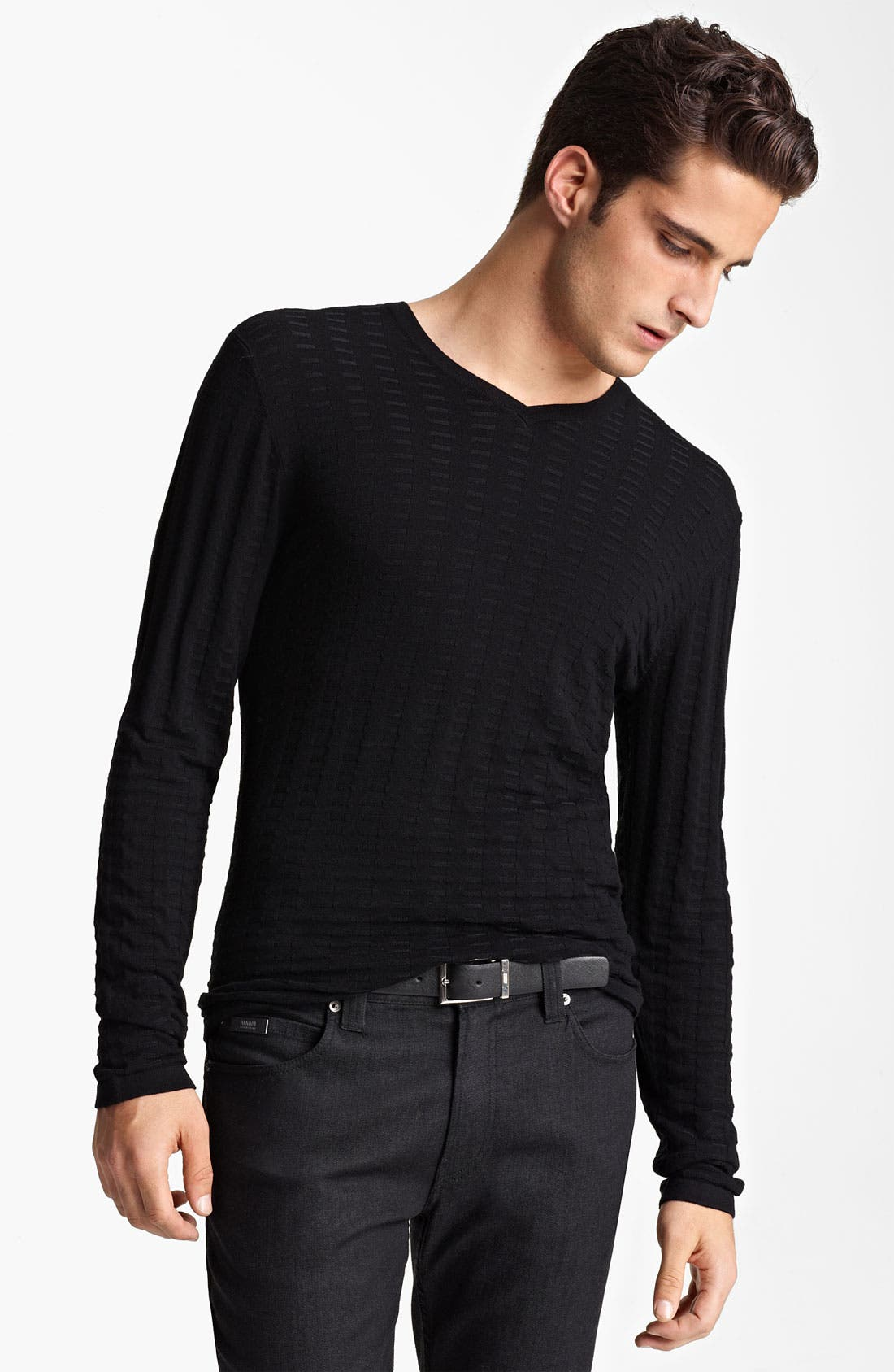 Main Image - Armani Collezioni V-Neck Textured Knit Sweater