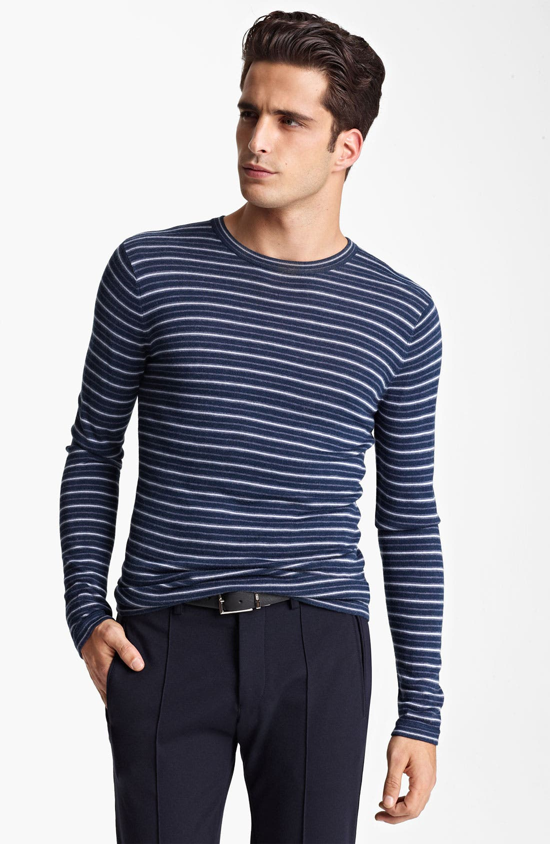 Main Image - Armani Collezioni Stripe Crewneck Sweater