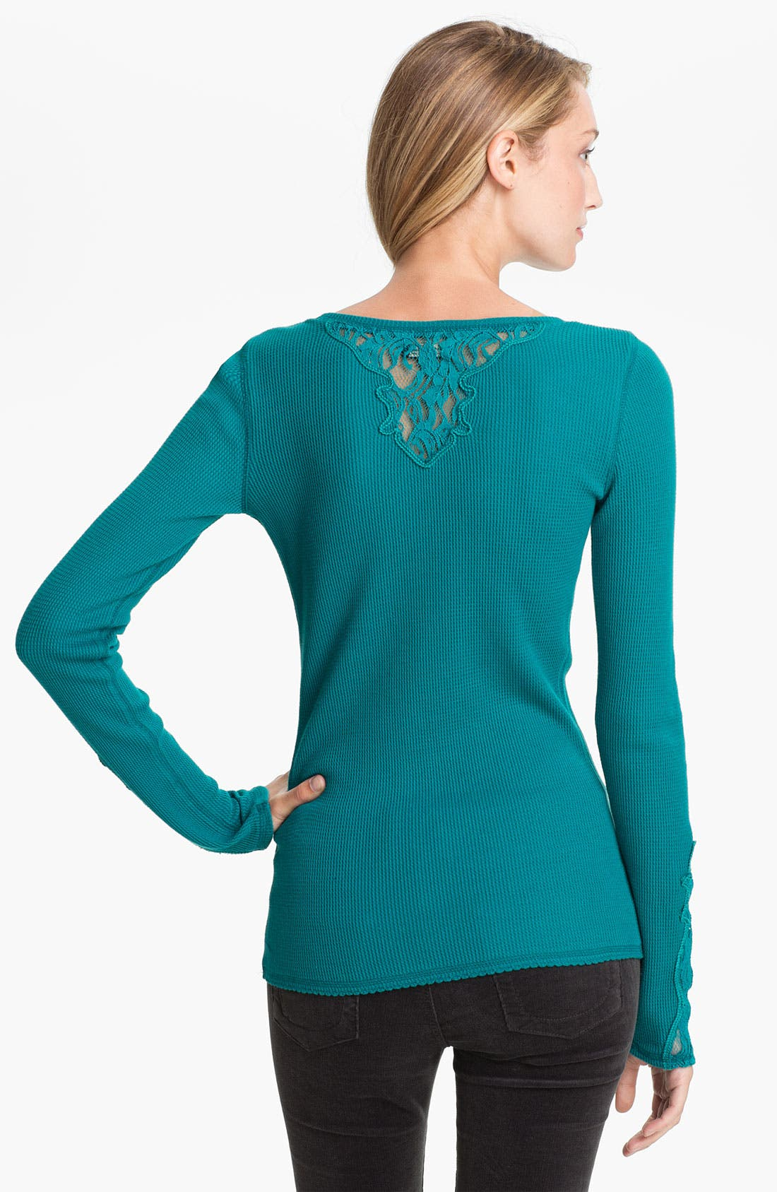 Alternate Image 2  - Lucky Brand Lace Trim Thermal Top