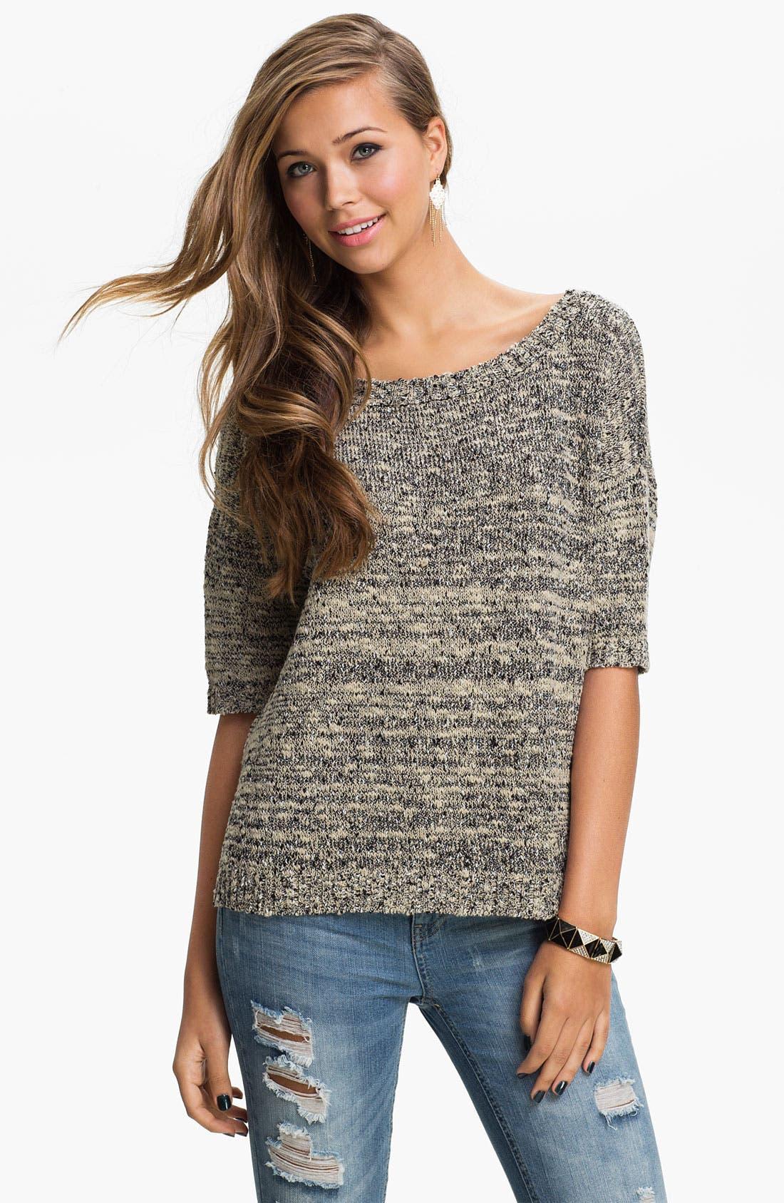 Alternate Image 2  - Love by Design Tie Back Mélange Sweater (Juniors)