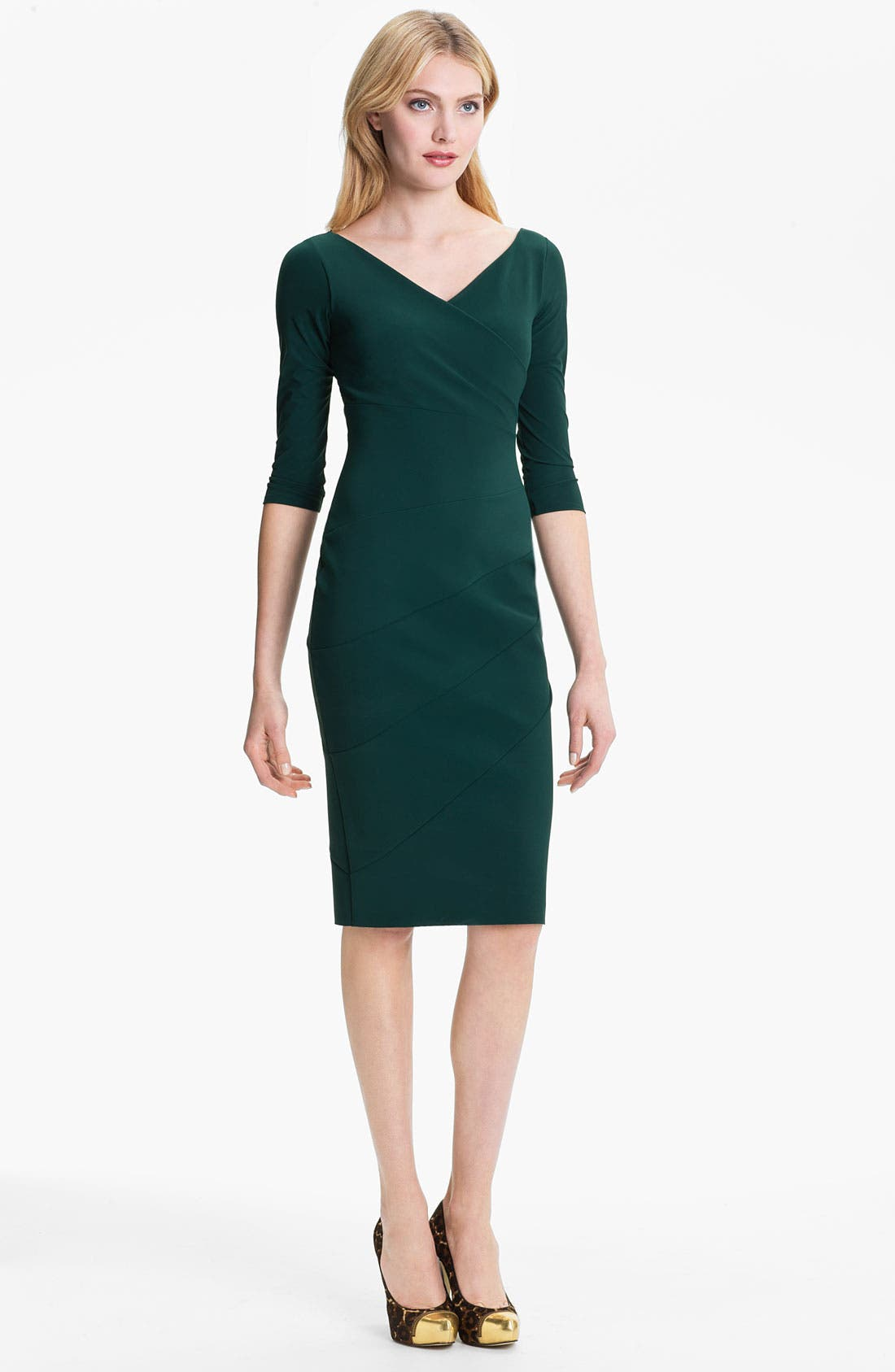 Alternate Image 1 Selected - La Petite Robe by Chiara Boni V-Neck Seam Detail Sheath Dress