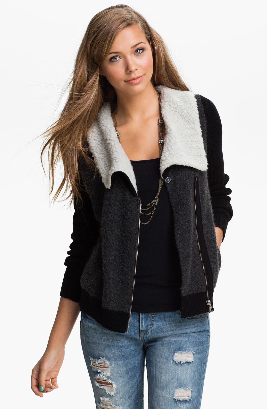 Main Image - BP. Faux Shearling Collar Sweater Bomber (Juniors)