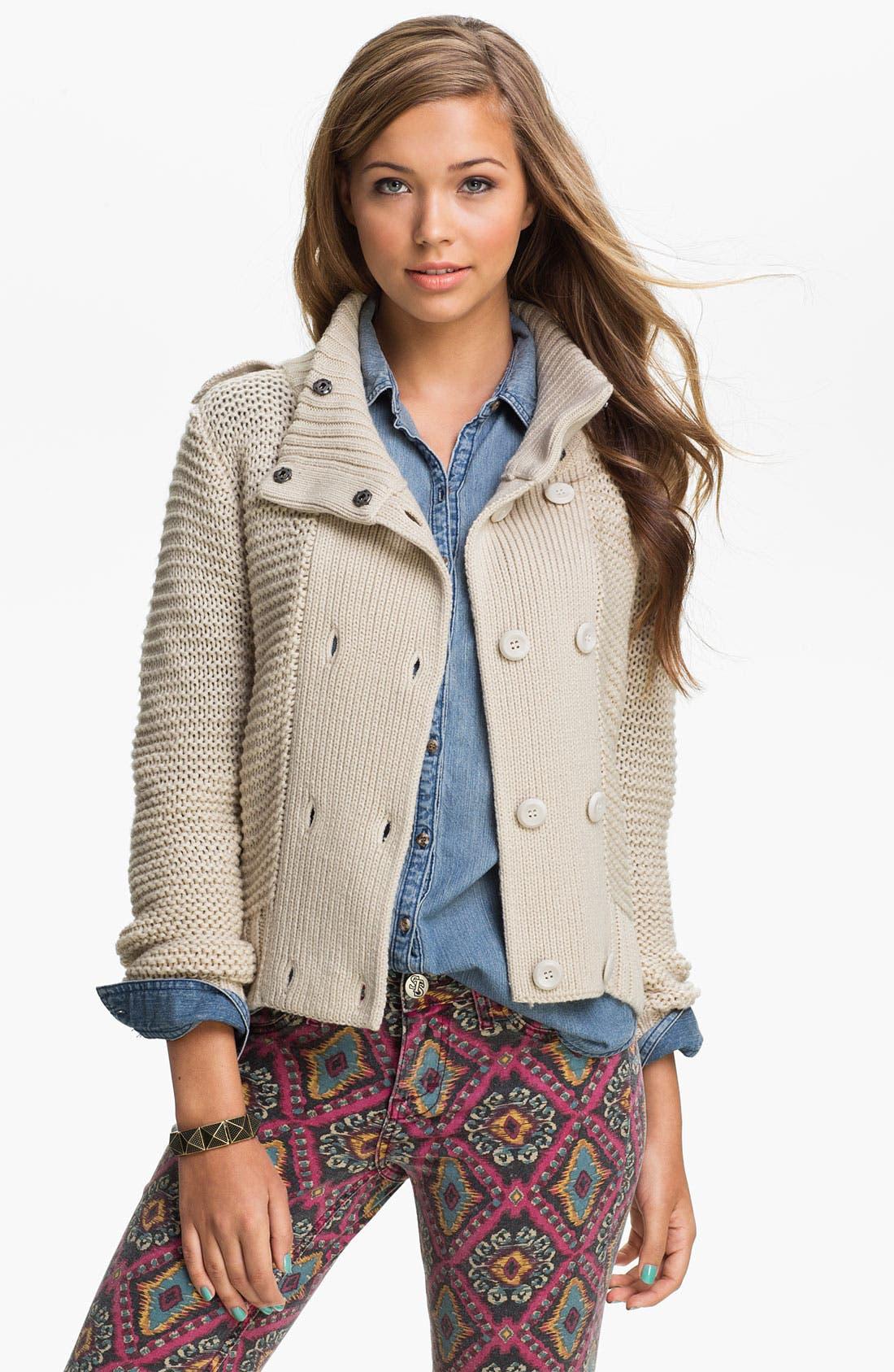 Main Image - Rubbish® 'Links' Sweater Jacket (Juniors)