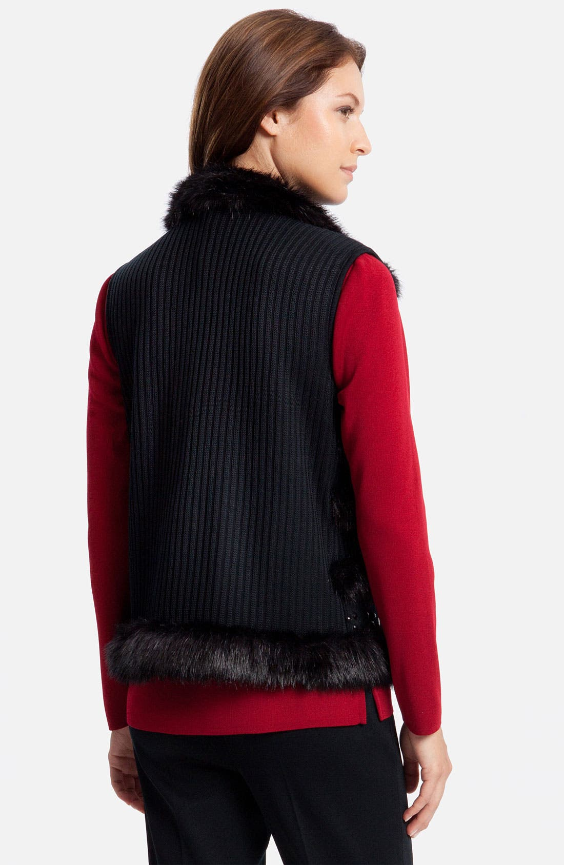 Alternate Image 2  - Ming Wang Knit & Faux Fur Vest