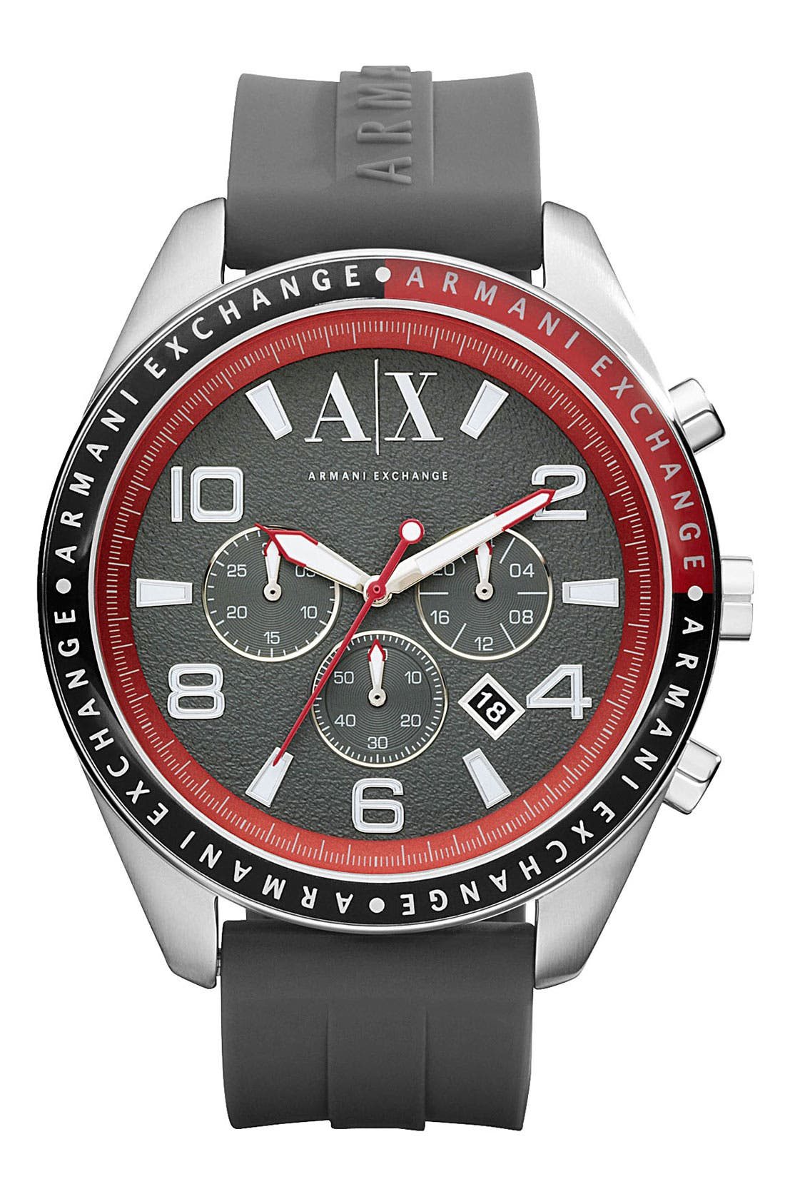 Main Image - AX Armani Exchange Round Silicone Strap Watch, 47mm