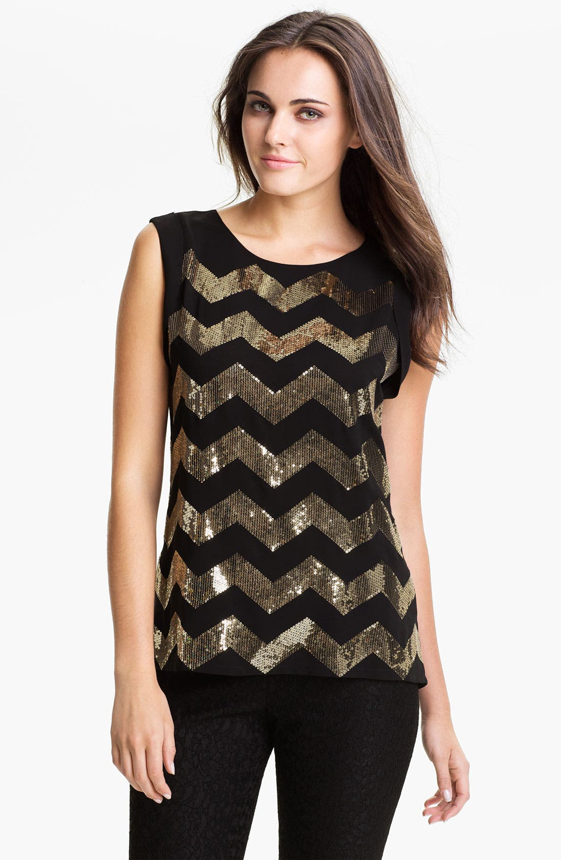 Alternate Image 1 Selected - Vince Camuto Sequin Chevron Blouse