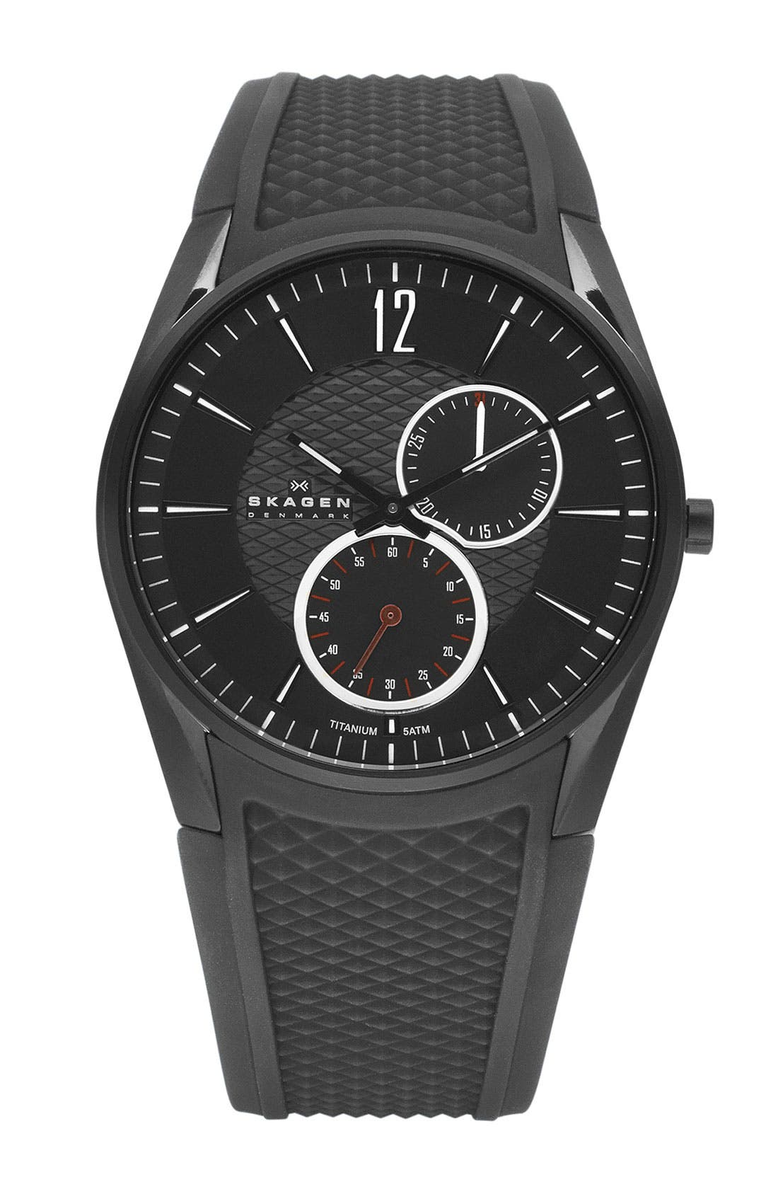 Alternate Image 1 Selected - Skagen Round Multifunction Silicone Strap Watch
