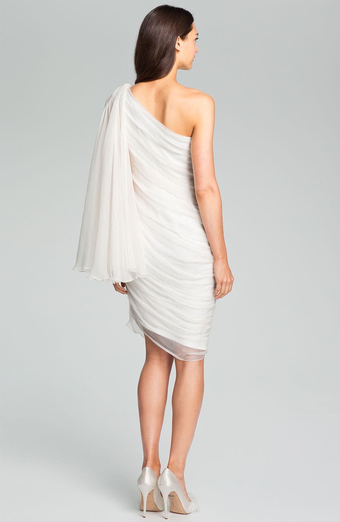 Alternate Image 2  - Tadashi Shoji One Shoulder Crinkle Chiffon Dress