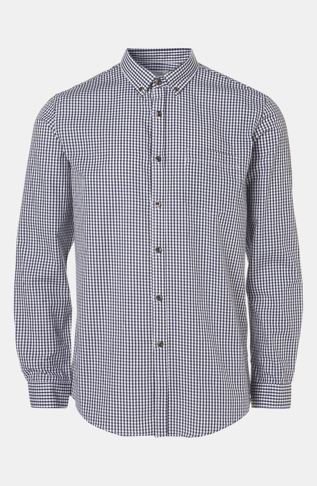 Alternate Image 1 Selected - Topman Extra Trim Gingham Check Shirt