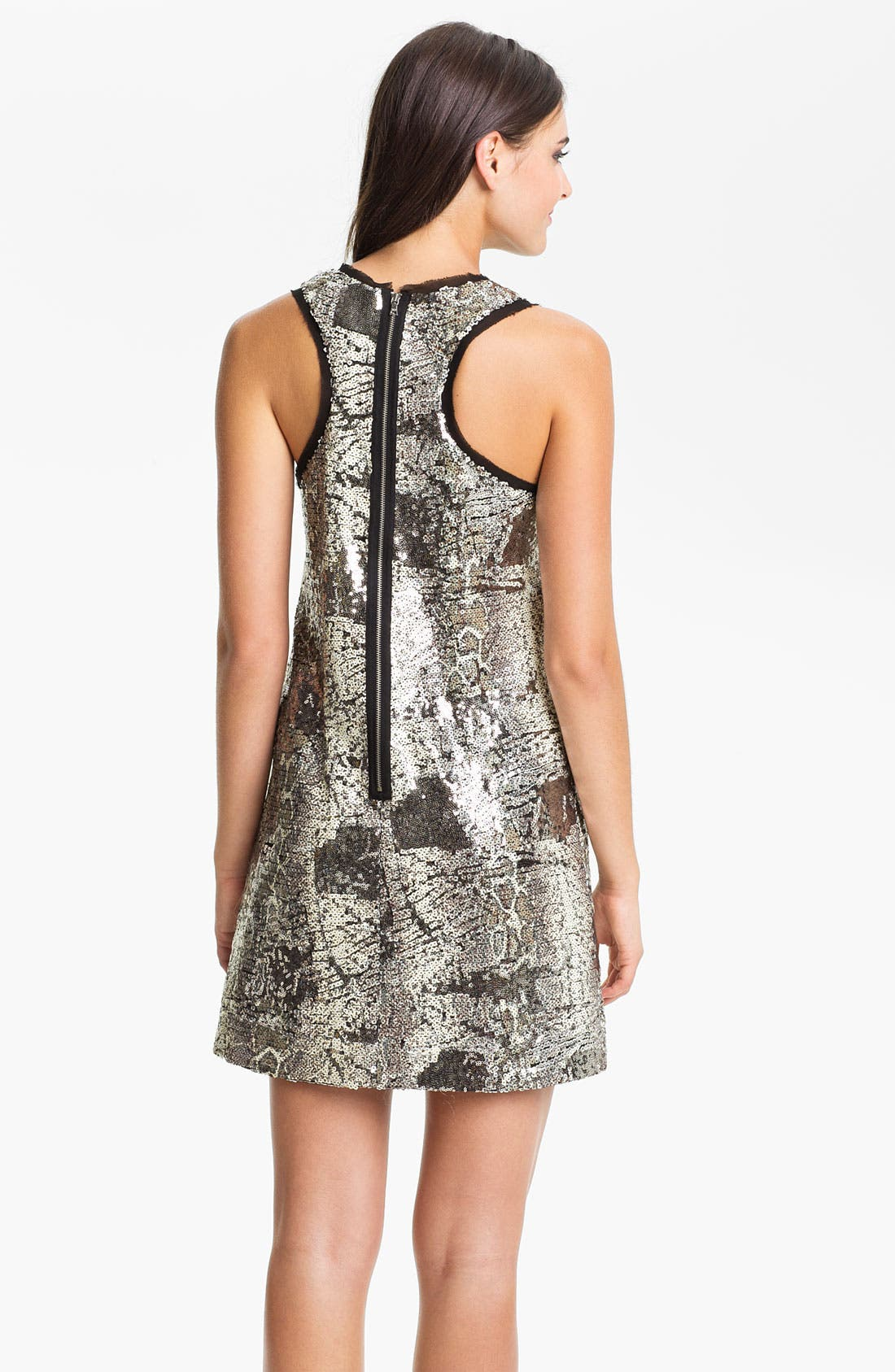 Alternate Image 2  - Donna Morgan Sleeveless Print Sequin Shift Dress