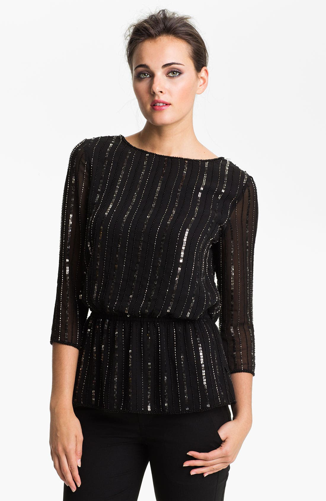 Alternate Image 1 Selected - Adrianna Papell Sequin & Bead Chiffon Blouson Top