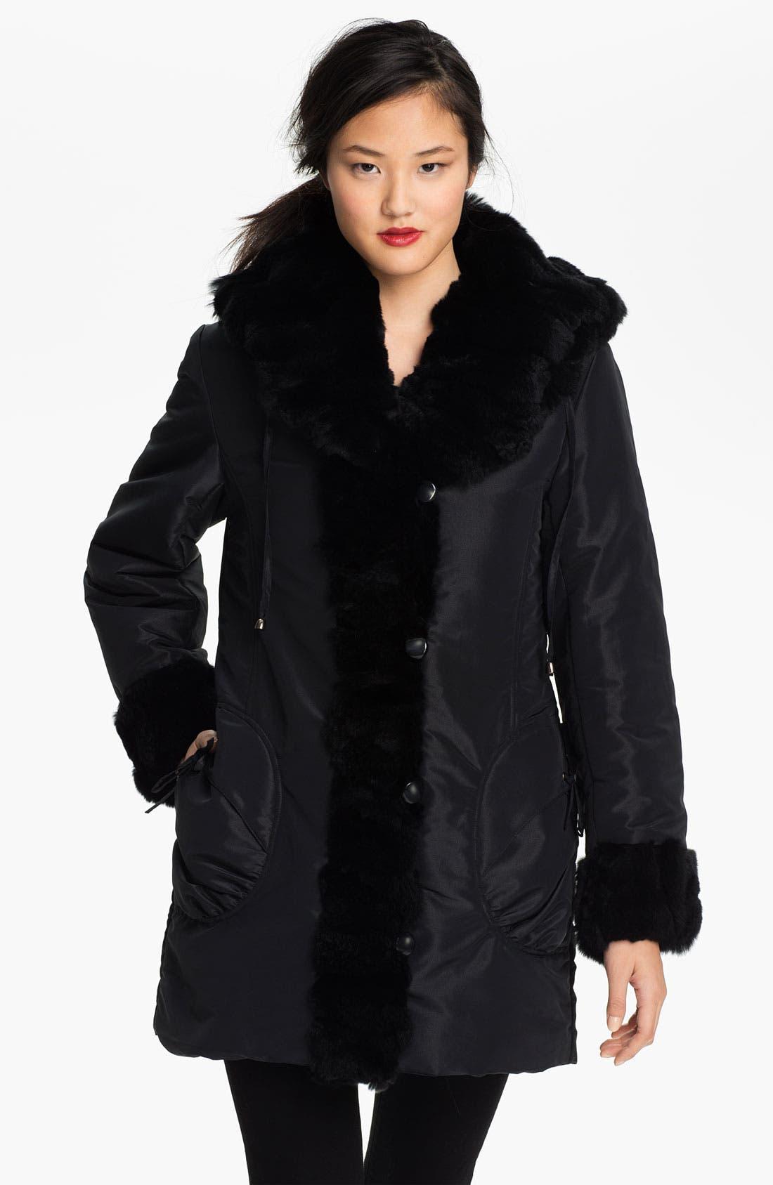 Main Image - Jessica Wilde Storm Coat with Genuine Rabbit Fur