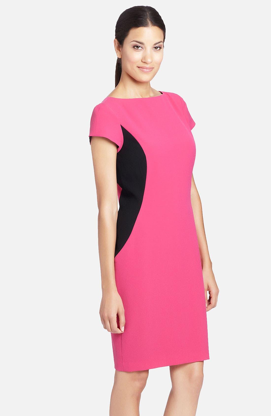 Main Image - Cynthia Steffe 'Lida' Contrast Side Panel Crepe Sheath Dress