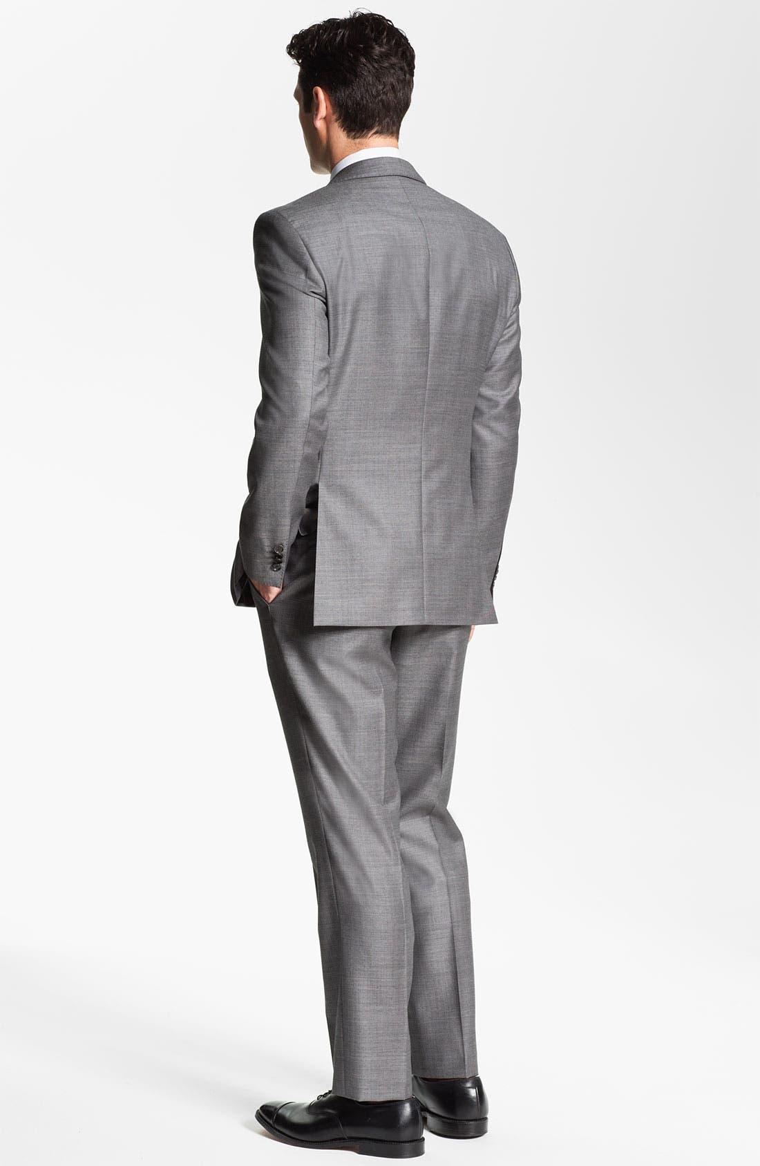 Alternate Image 2  - BOSS Black Trim Fit Wool Suit & Woven Silk Tie