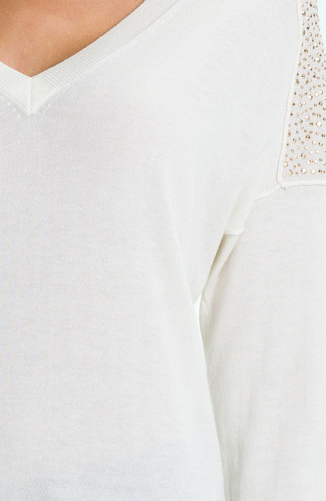 Alternate Image 3  - MICHAEL Michael Kors Studded V-Neck Sweater (Petite)