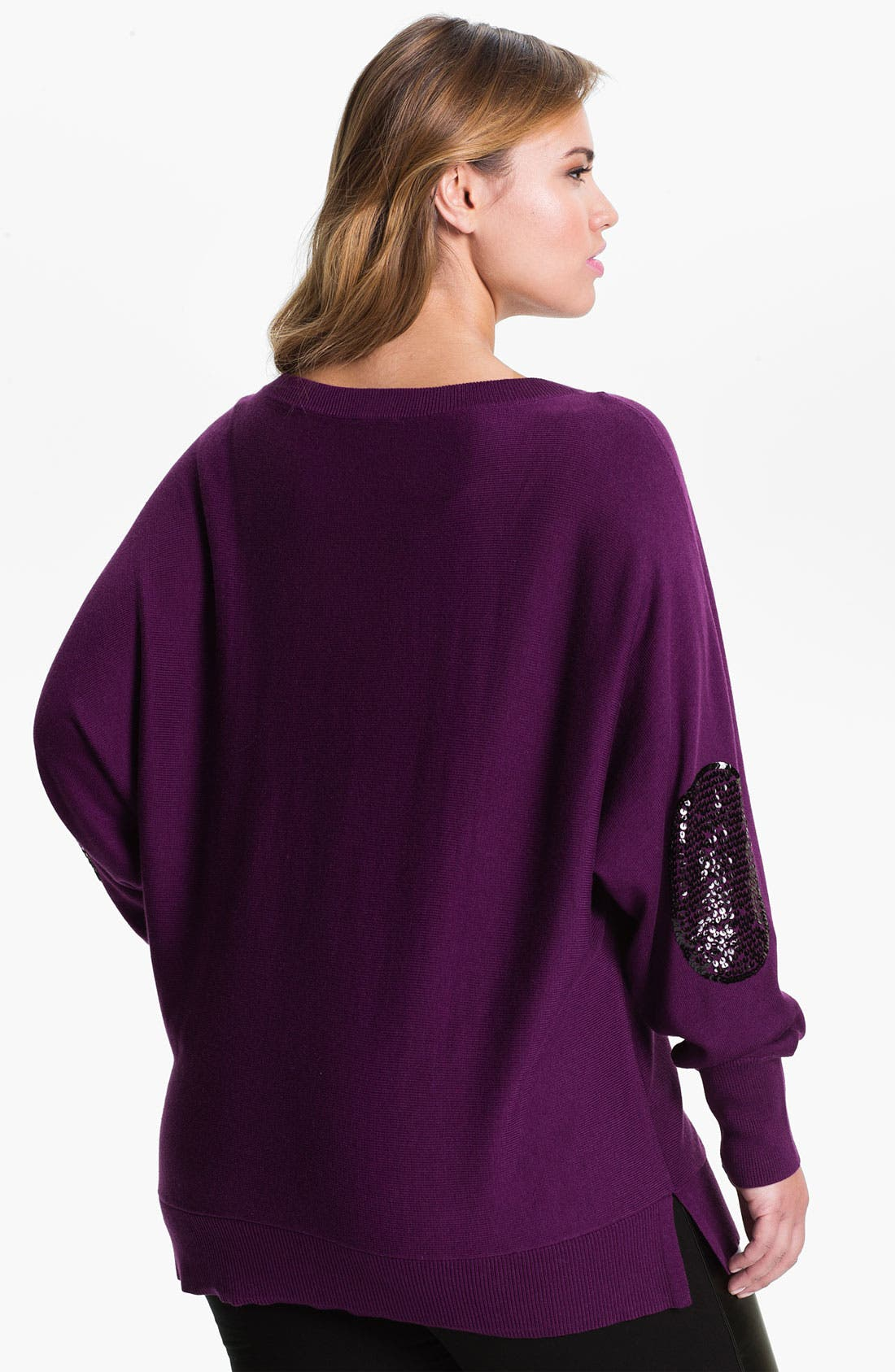 Alternate Image 2  - Vince Camuto Sequin Elbow Patch Sweater (Plus)