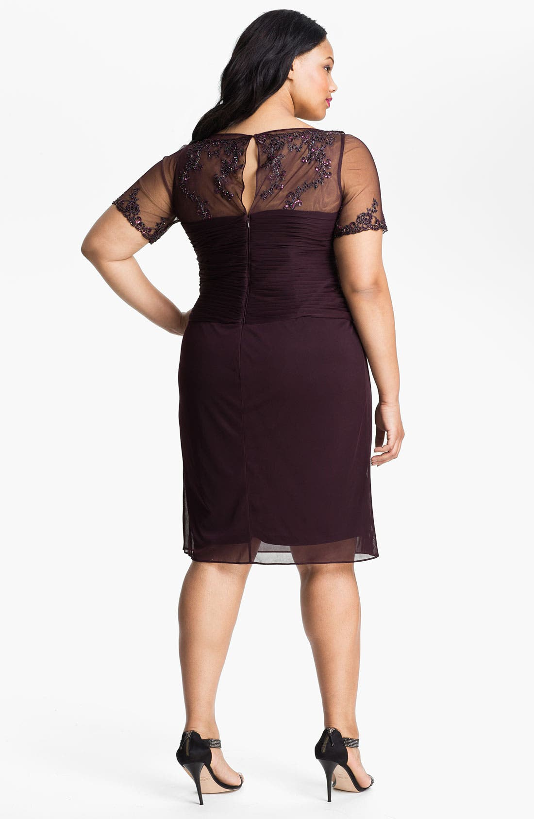 Alternate Image 2  - Adrianna Papell Beaded Mesh Sheath Dress (Plus)