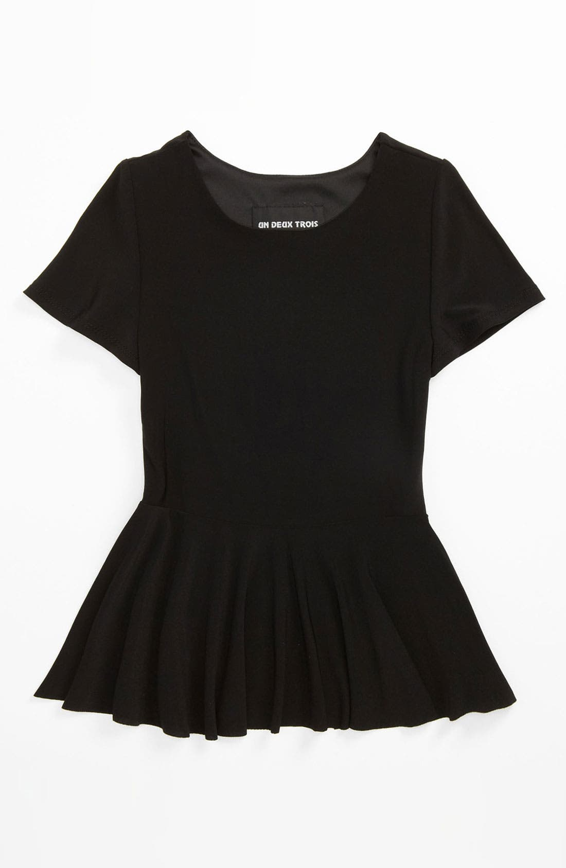 Main Image - Un Deux Trois Short Sleeve Peplum Top (Big Girls)