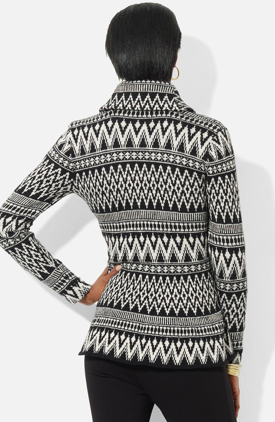 Alternate Image 2  - Lauren Ralph Lauren Shawl Collar Fair Isle Cardigan (Petite) (Online Exclusive)