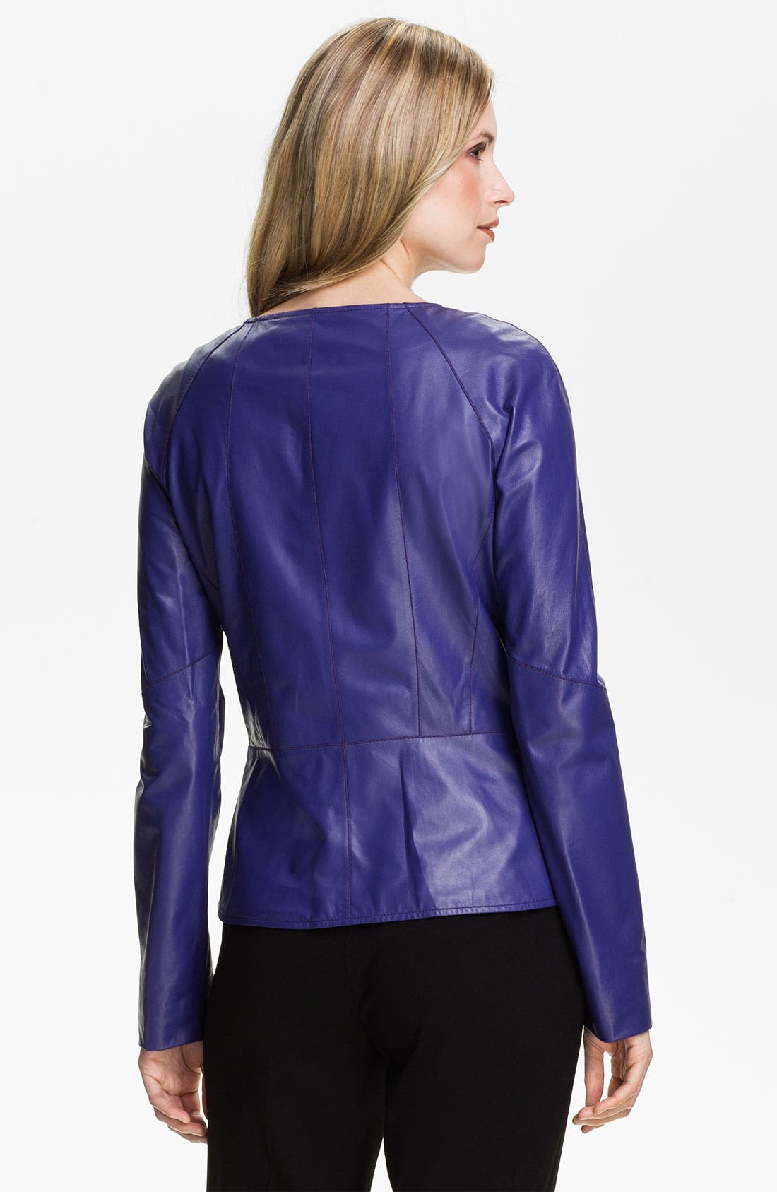 Alternate Image 2  - Lafayette 148 New York Leather Moto Jacket