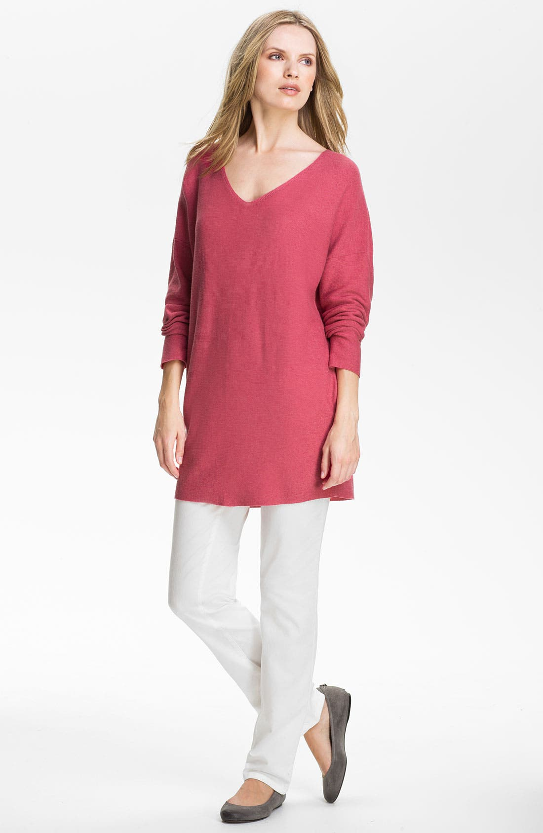 Alternate Image 4  - Eileen Fisher V-Neck Tunic Sweater (Online Exclusive)
