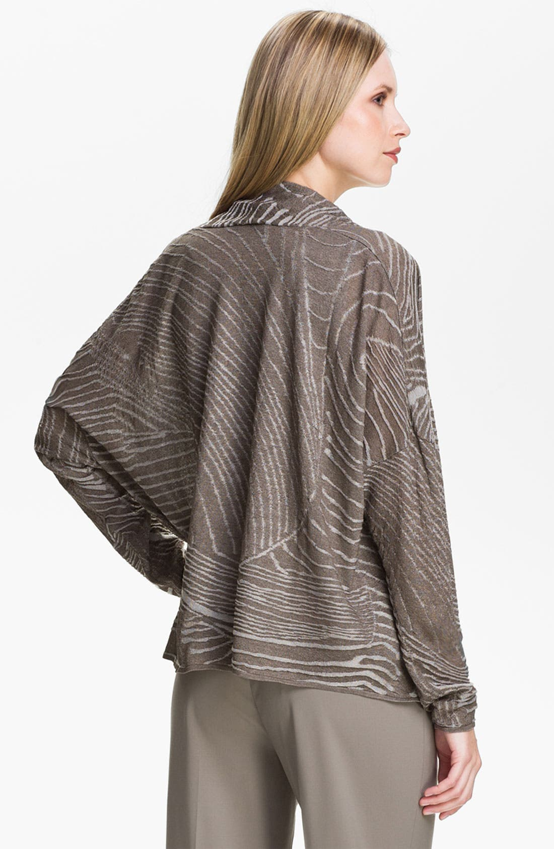 Alternate Image 2  - Lafayette 148 New York Jacquard Drape Front Cardigan
