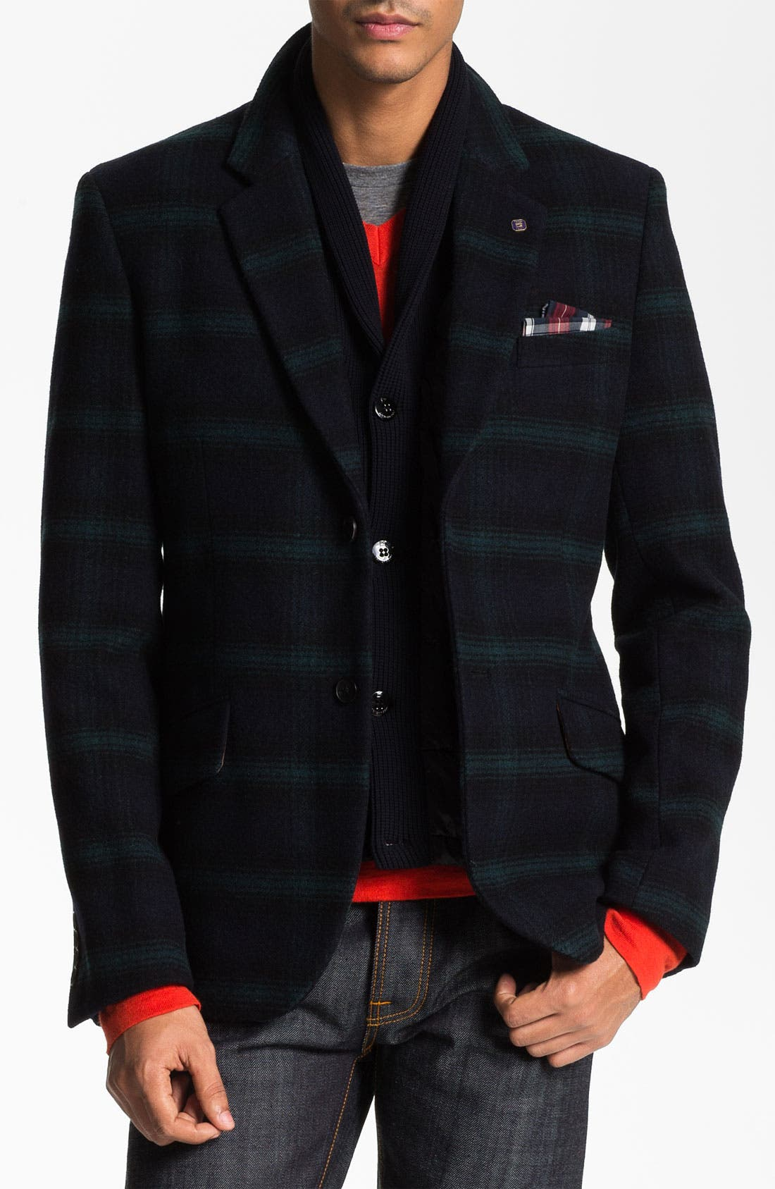 Main Image - Scotch & Soda Wool Blend Blazer with Quilted Liner Vest