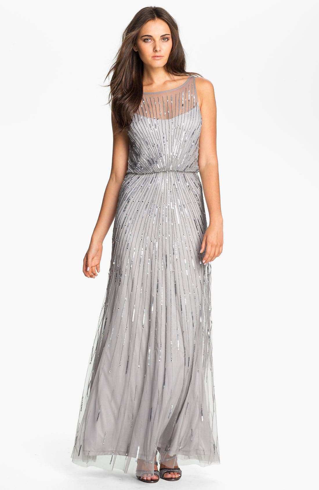 Alternate Image 1 Selected - Aidan Mattox Illusion Yoke Sequin Mesh Gown (Online Only)