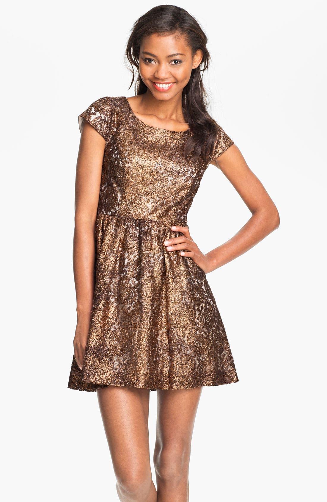 Alternate Image 1 Selected - Kensie Foil Lace Dress (Online Exclusive)