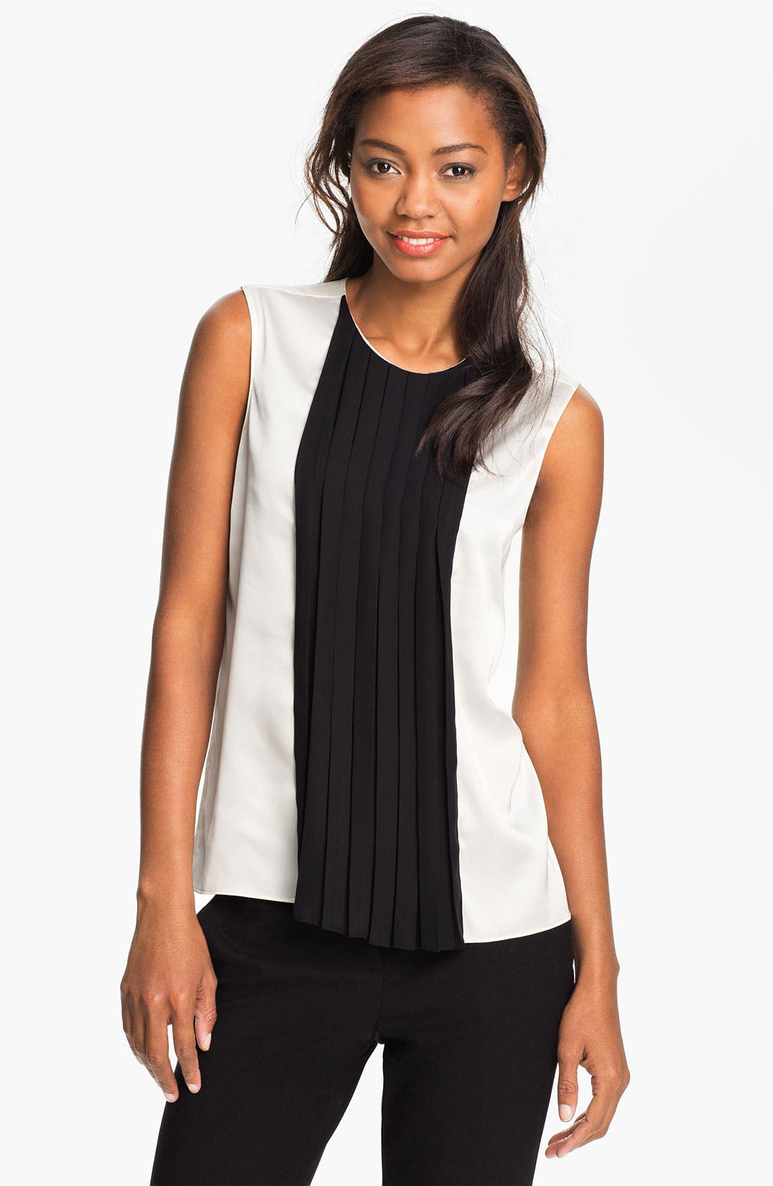 Alternate Image 1 Selected - Vince Camuto Pleated Colorblock Shell
