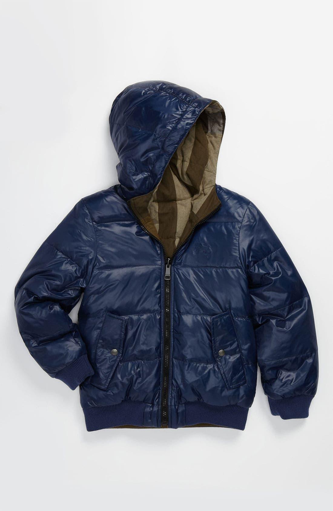Main Image - Burberry Reversible Down Puffer Jacket (Little Girls & Big Girls)