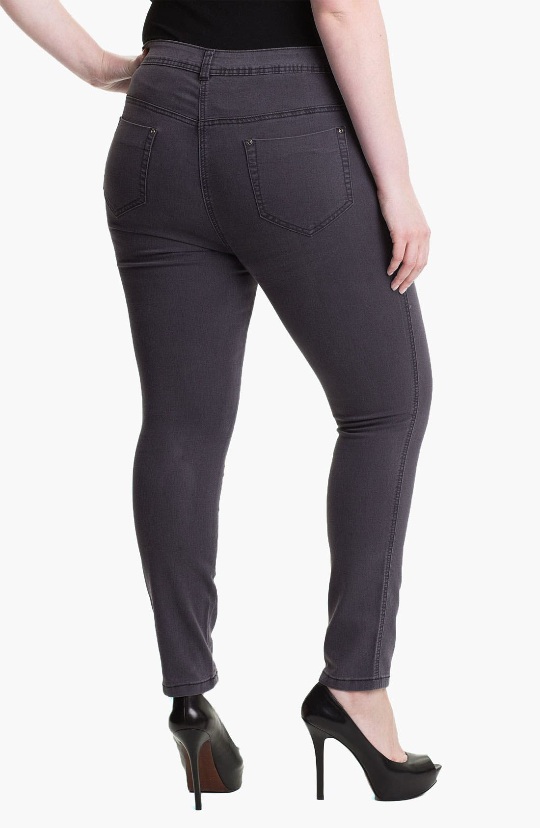 Alternate Image 2  - Evans Straight Leg Slim Jeans (Plus Size)