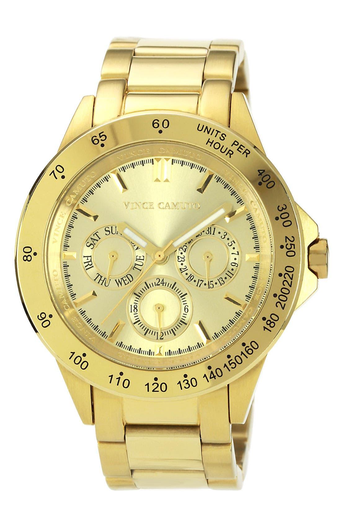 Main Image - Vince Camuto Round Tachymeter Bezel Bracelet Watch, 42mm