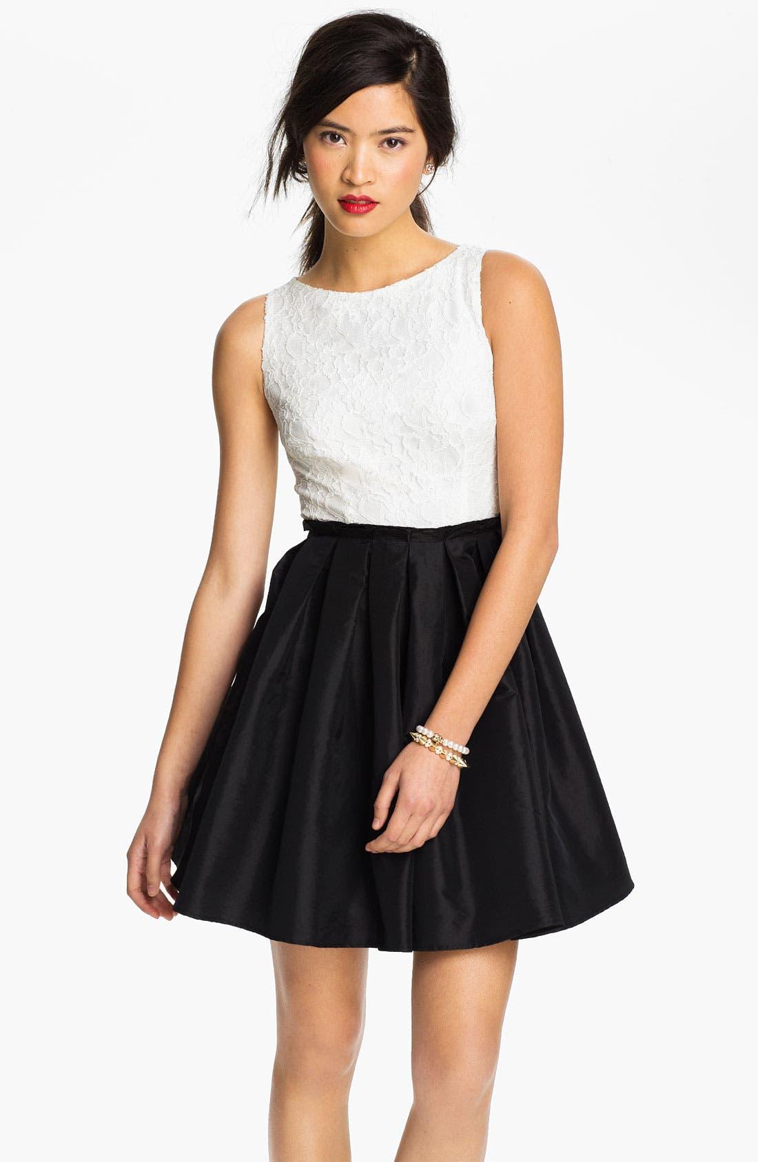 Alternate Image 1 Selected - Way-In Lace & Taffeta Dress (Juniors)