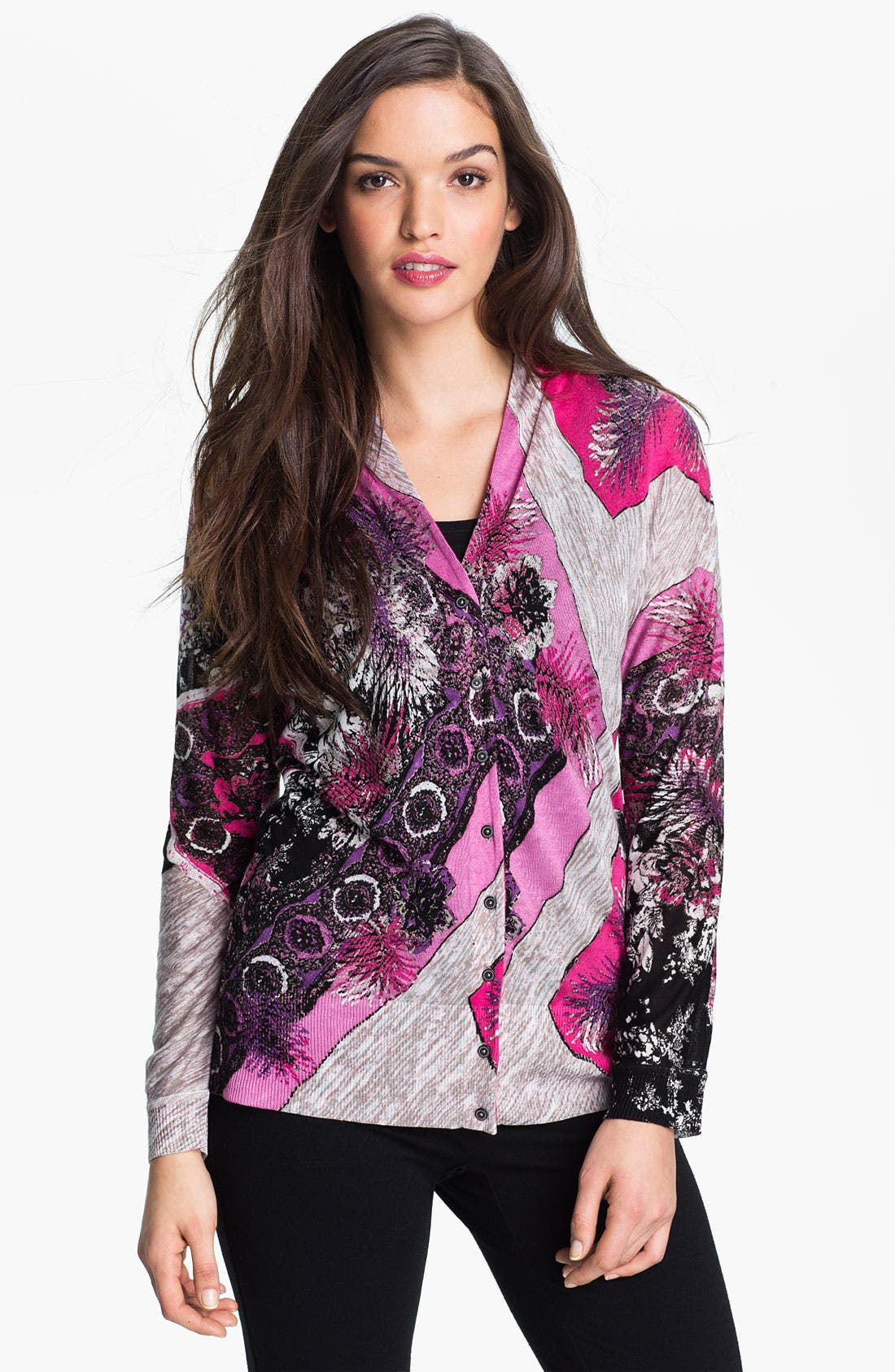 Alternate Image 1 Selected - Nic + Zoe Abstract Print V-Neck Cardigan