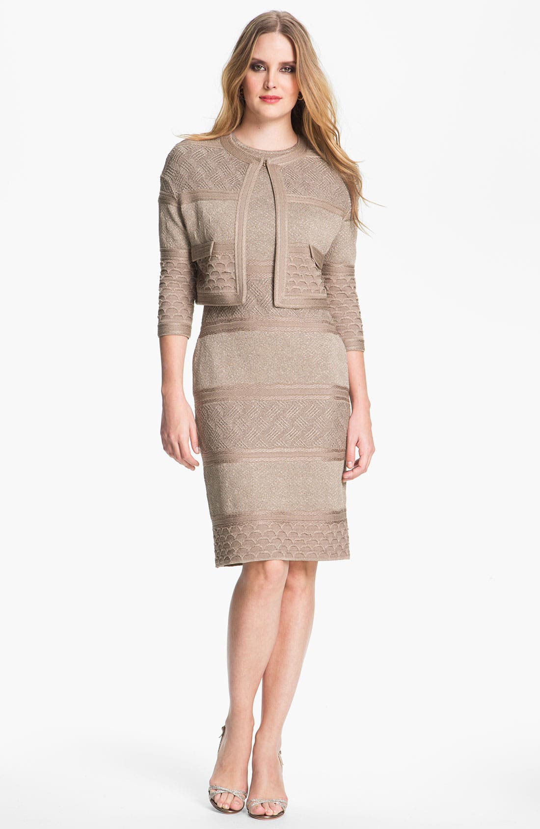 Alternate Image 2  - St. John Collection Textural Stripe Dress