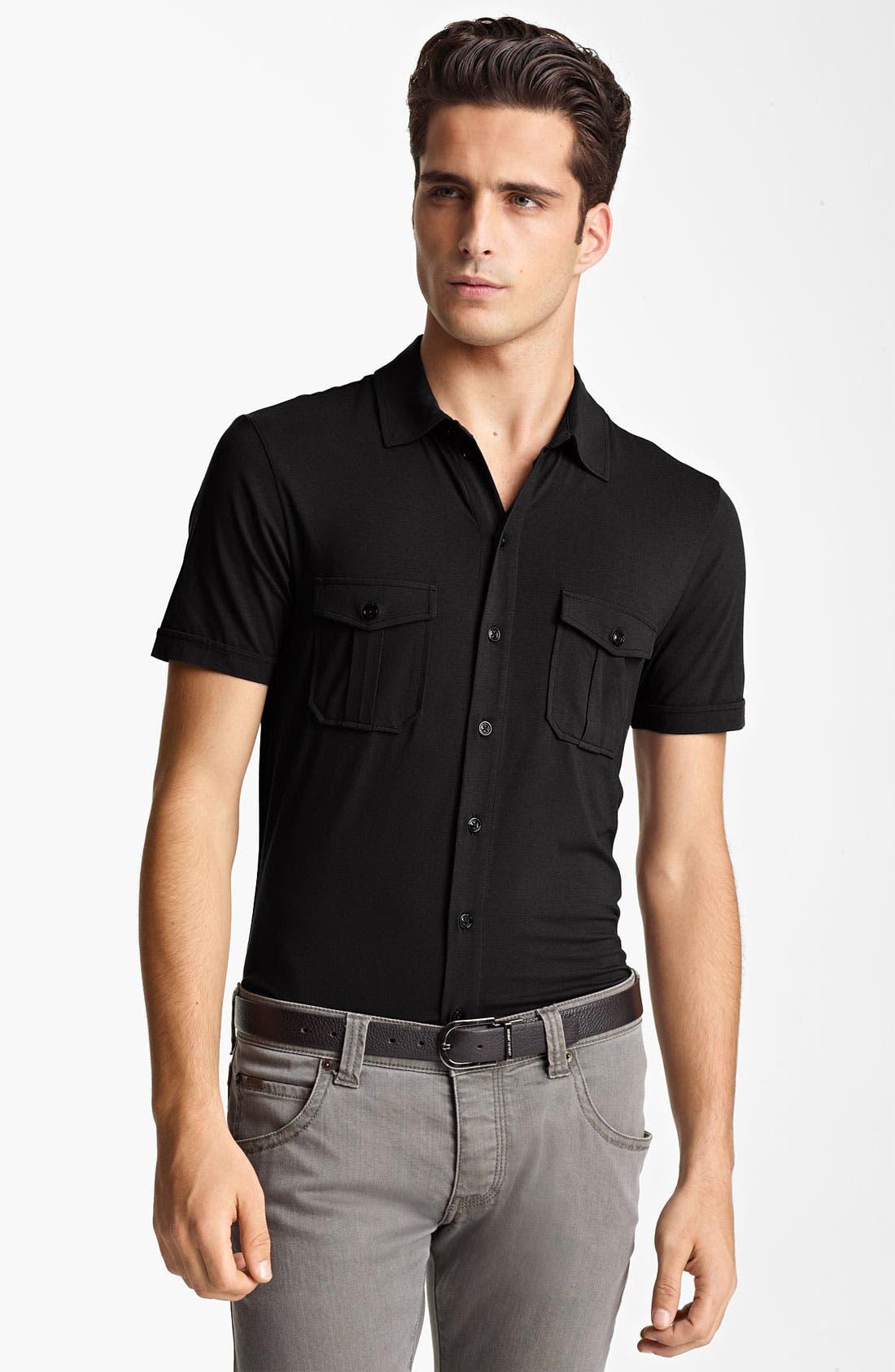 Alternate Image 1 Selected - Armani Collezioni Jersey Shirt