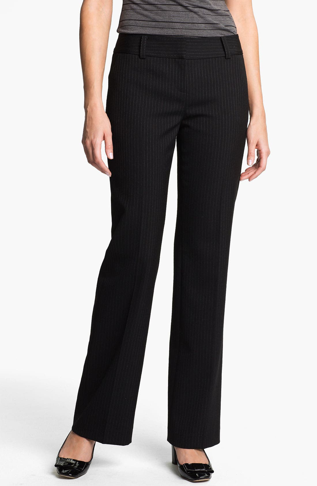 Alternate Image 1 Selected - Halogen® 'Taylor' Curvy Fit Pinstripe Pants