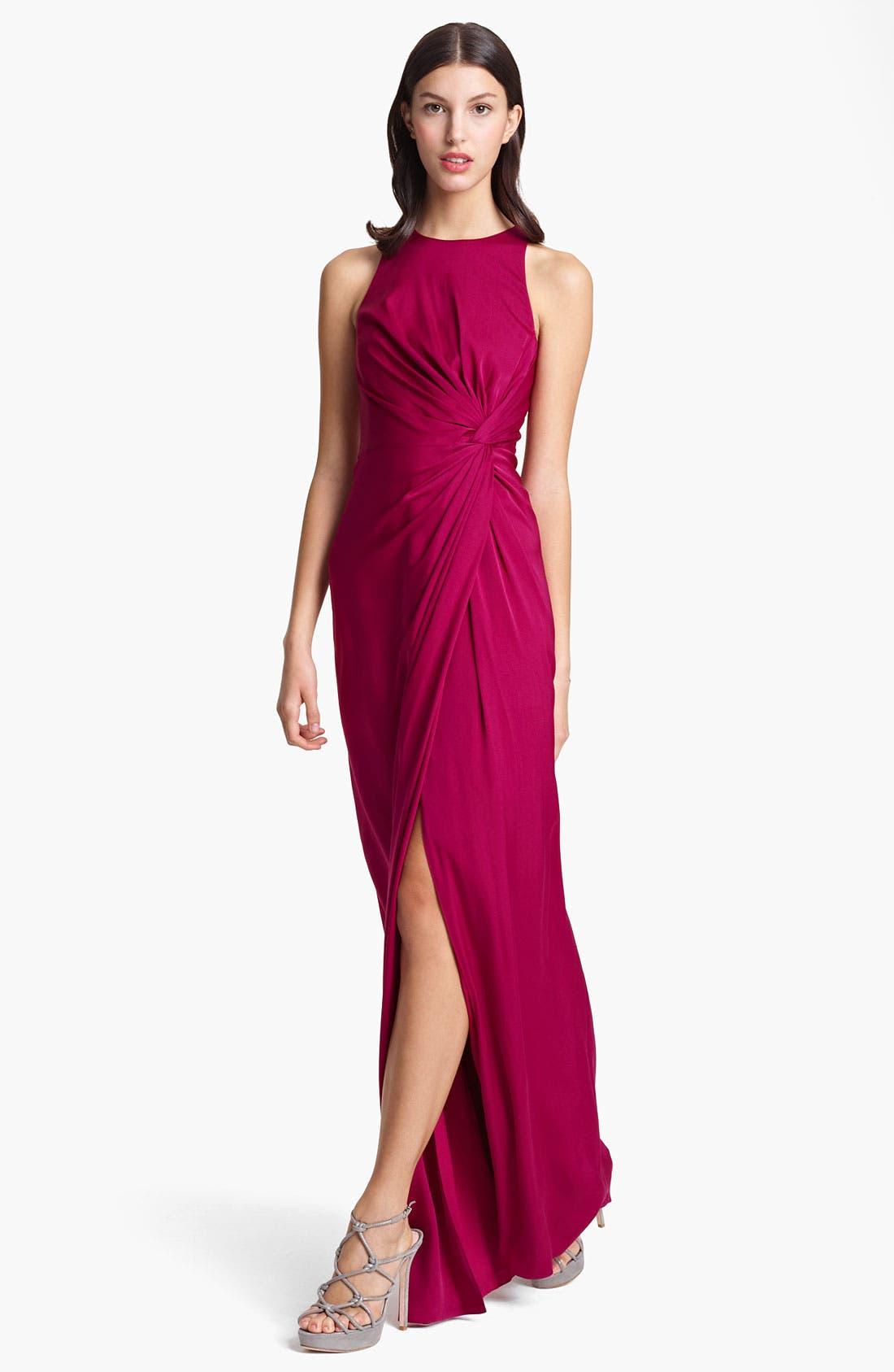 Main Image - Armani Collezioni Gathered Matte Silk Gown