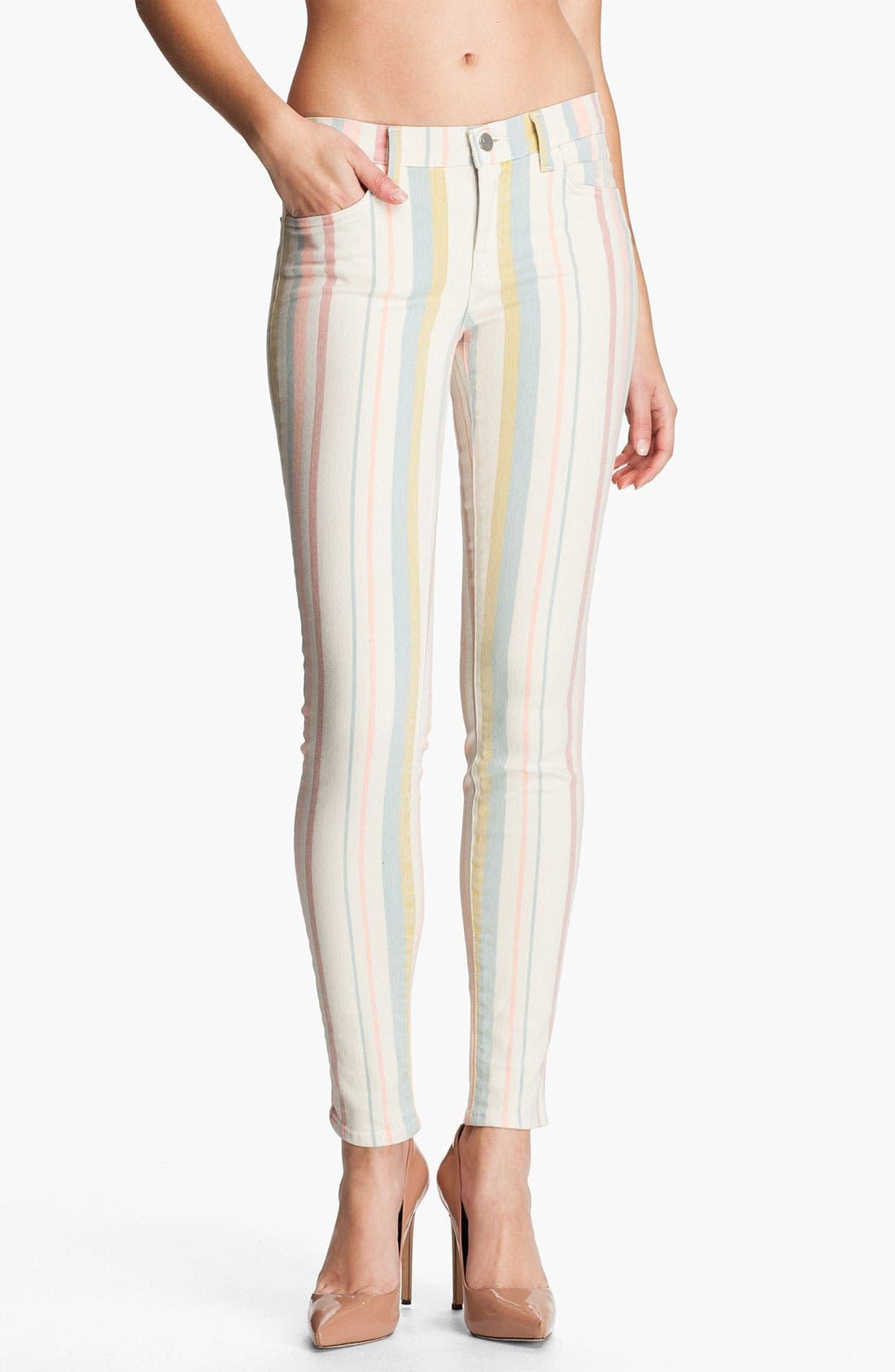 Alternate Image 1 Selected - J Brand Pastel Stripe Stretch Denim Skinny Jeans (Candy Stripe)