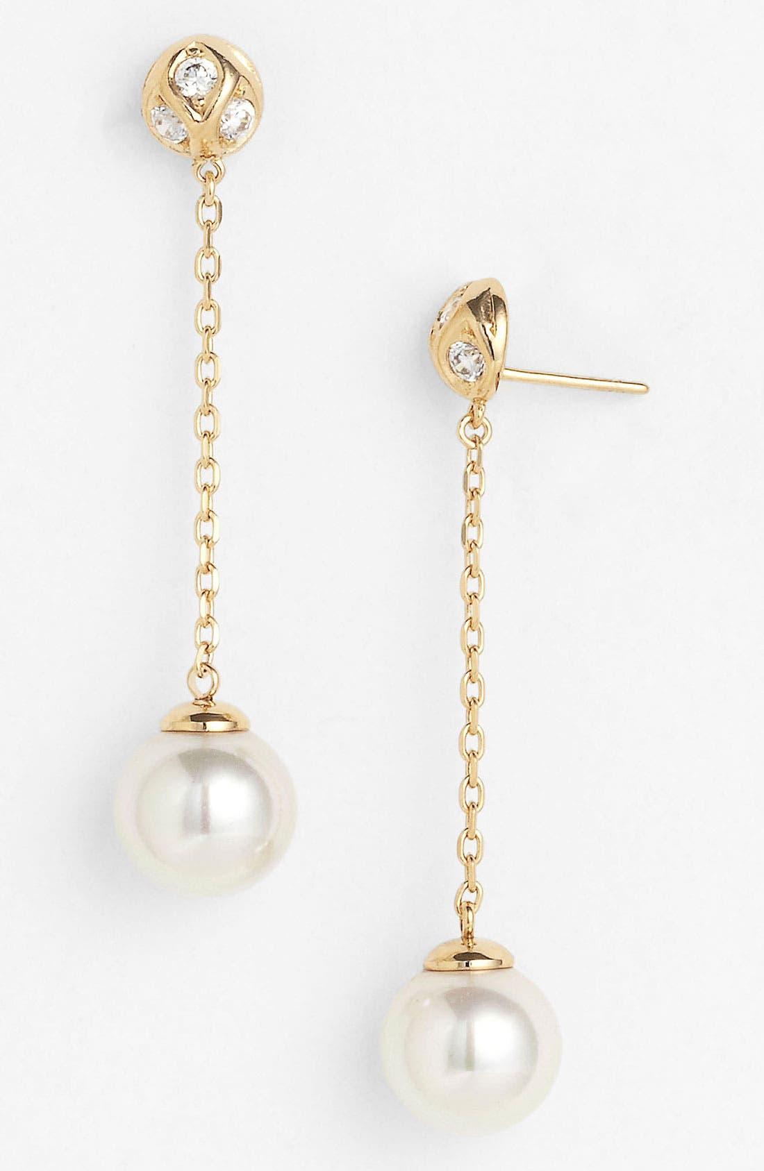 Main Image - Majorica 10mm Pearl Linear Earrings