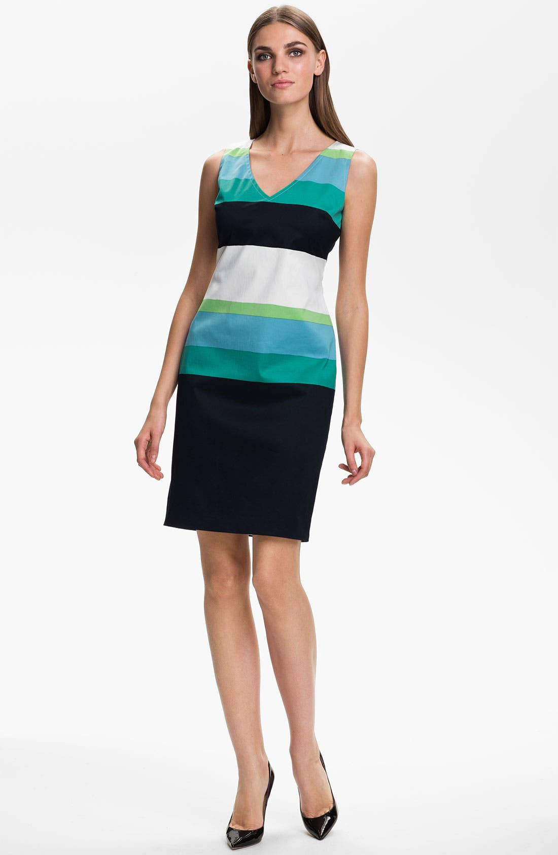 Main Image - St. John Collection Stripe Sateen Dress
