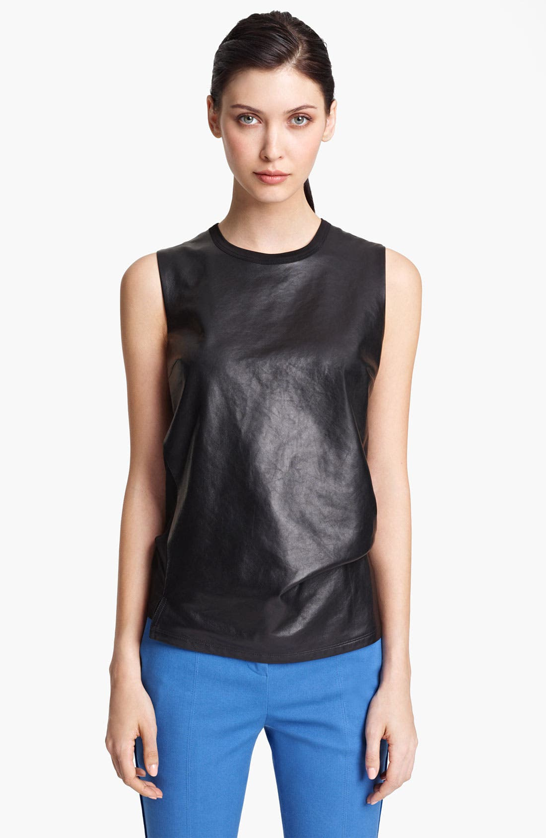 Main Image - Reed Krakoff Nappa Leather & Jersey Top