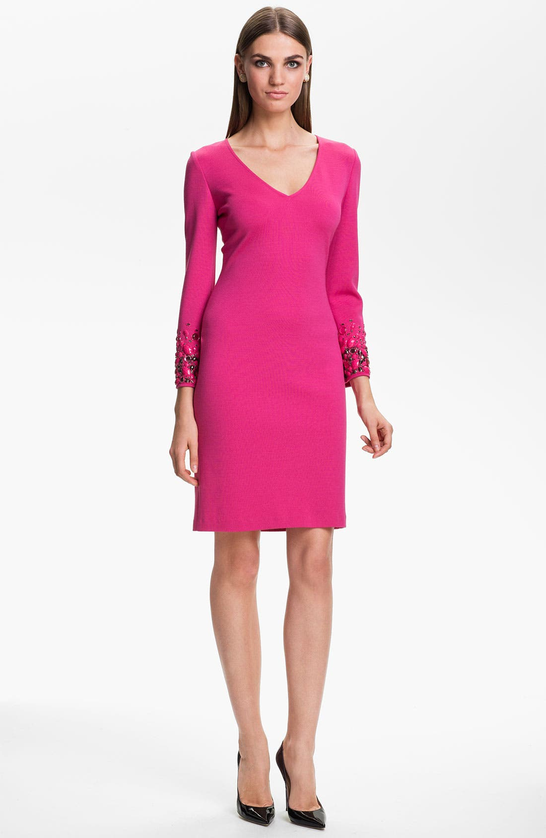 Alternate Image 1 Selected - St. John Collection Milano Knit Hand Beaded Dress